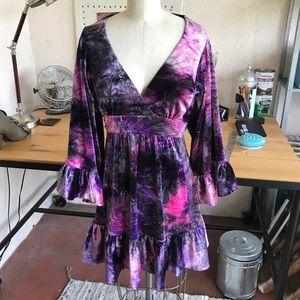 Vintage crushed velvet Betsey Johnson dress 6 New